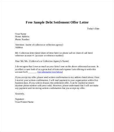 debt letter template word format