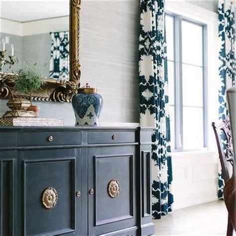 Blue Dining Room Buffet Dining Room Gray Grasscloth Design Ideas
