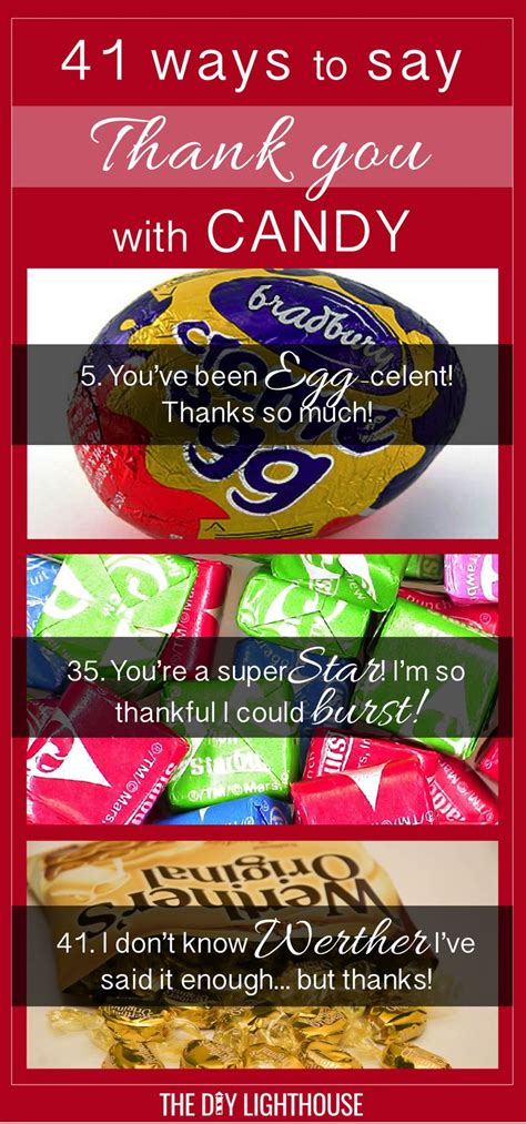 candies sayings 41 ideas for ways to say thank you with