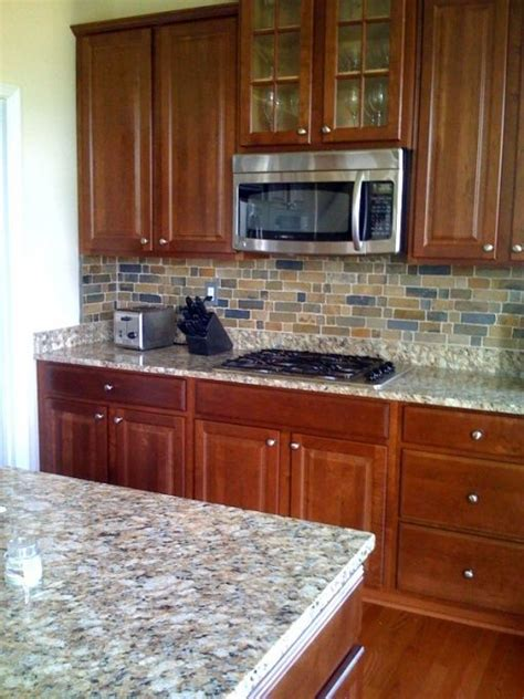 cherry oak cabinets kitchen slate backsplash with cherry cabinents nepoli garnite