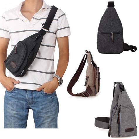 Tas Kanvas Selempang Punggung Style Chest Bag τσαντάκι καμβά ώμου στήθους τρίγωνο hotstyle gr