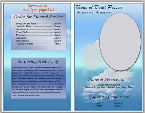 Blue Themed Funeral Program Template In Microso Program Template Microsoft Word