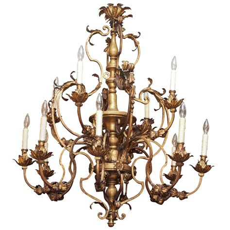 Iron And Wood Chandelier Italian Gilt Iron And Wood Chandelier With Twelve Lights For Sale At 1stdibs