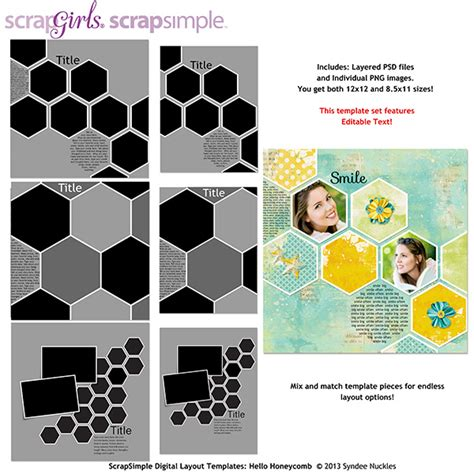scrapbook layout templates 12x12 scrapsimple digital layout templates hello honeycomb