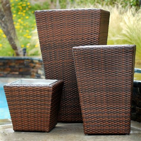 Planter Sets by Woven 3 Rattan Planter Set Modern Outdoor Lounge Sets Salt Lake City By Rst