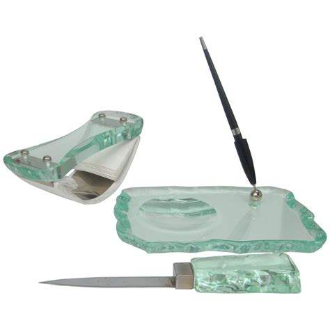 Glass Desk Accessories Sets Italian 1960s Chiselled Glass Desk Set In The Style Of Fontana Arte For Sale At 1stdibs