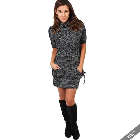 Chunky Knit Dress chunky knit roll up turtle neck jumper tunic dress