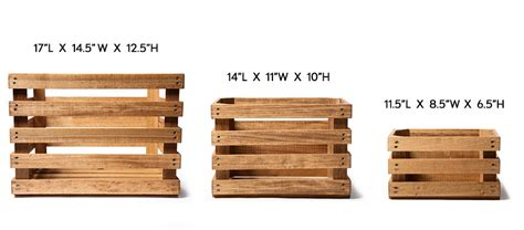 crate size chart poplar wood crates 3 sizes kaufmann mercantile