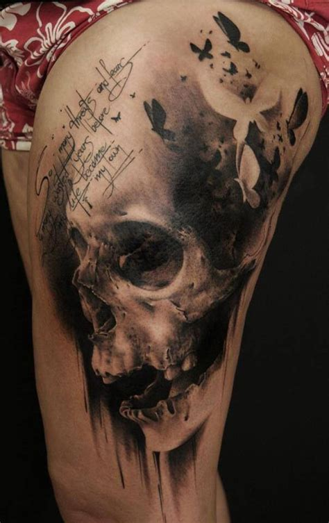 skull leg tattoo 40 awesome skull designs