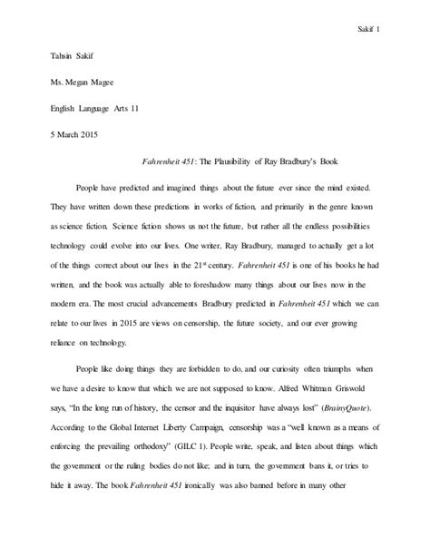 Literary Analysis Essay On Fahrenheit 451 by Critical Analysis Essay Fahrenheit 451