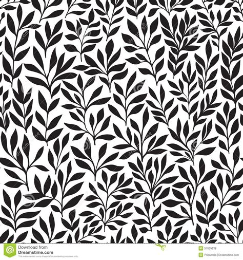 Seamless Floral Hand Drawn Pattern Leaf Background Seamlessly Tiling Retro Pattern With Leaf Ornament Stencil Template