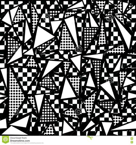 Anting Tusuk Inspired Shape Design 80s geometric seamless pattern in black and white stock vector illustration of black graphic