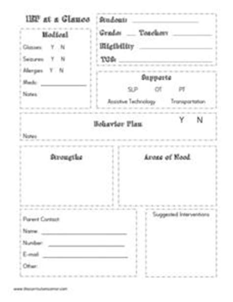 iep at a glance template iep at a glance kindergarten 12th grade printables