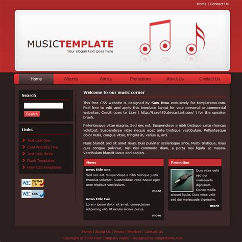 music templates for web site