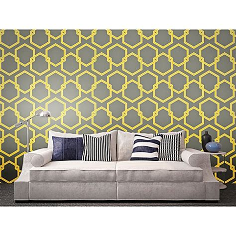 tempaper removable wallpaper tempaper 174 removable wallpaper in honeycomb citron bed
