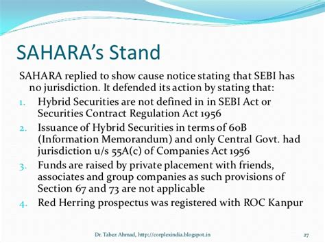 corporations act section 50 corporate frauds in the backdrop of sahara case