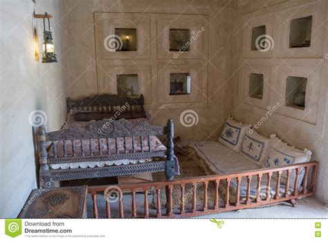 bed in arabic ancient arabian bedroom with bed and pillows stock photo