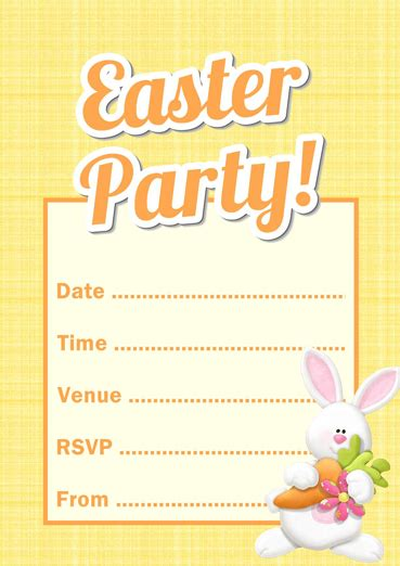 easter invitation templates free printable easter bunny invitation template