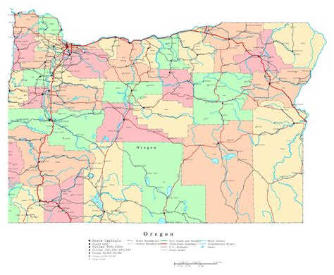 oregon state cus map large detailed administrative map of oregon state with roads highways and cities vidiani