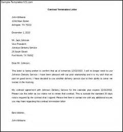 Letter For Termination Of Contract by Termination Of Services Contract Letter Template Sle Templates