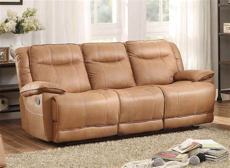 triple reclining sofa wasola brown triple reclining sofa from homelegance 8414