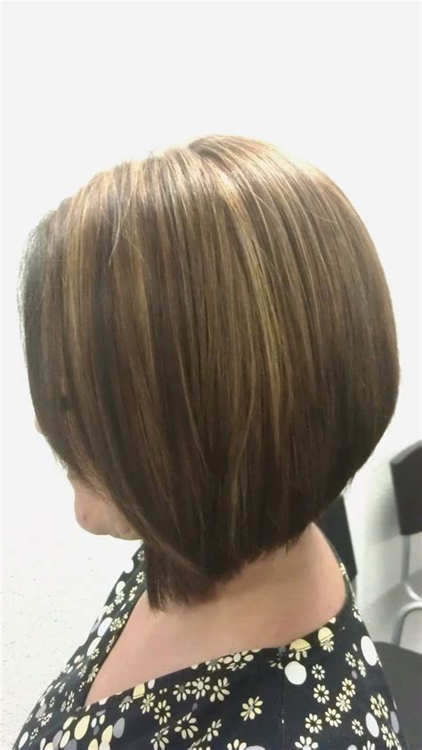 low hair on head triangular graduated haircut with high low lights