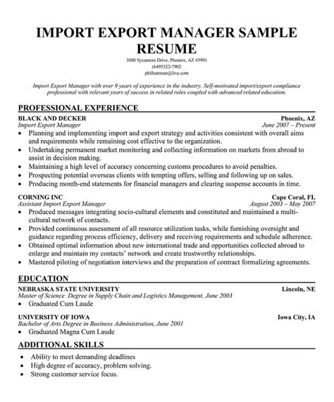 Import Specialist Cover Letter by Import Export Specialist Resume Resume Ideas
