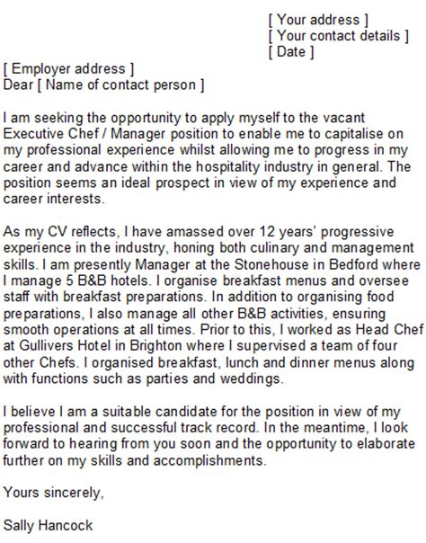 Restaurant Chef Cover Letter by Sle Chef Cover Letter