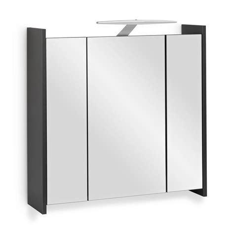 spiegelschrank 70 cm led spiegelschrank elegance anthrazit mit led beleuchtung 70cm