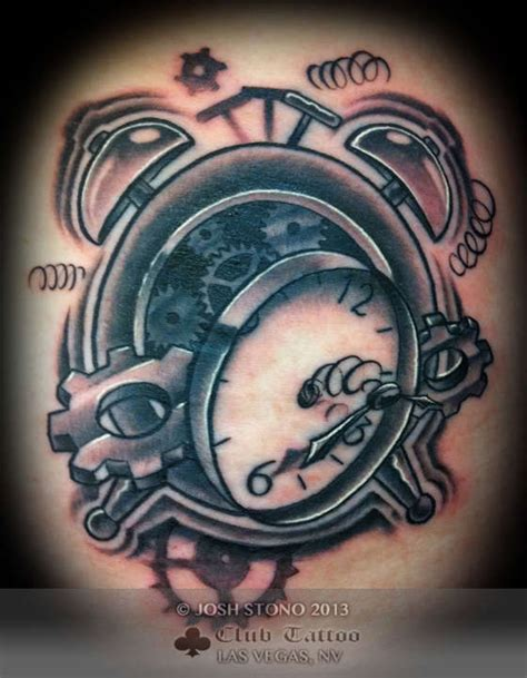 black and grey tattoos las vegas joshstono clock black and grey