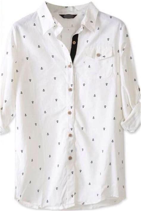 pattern white blouse white long sleeve anchor pattern blouse womens blouses