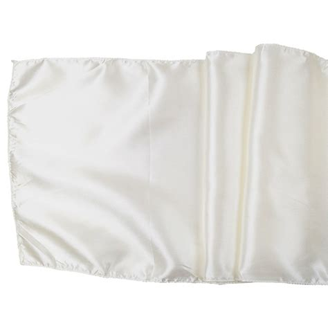 satin table runner solid ivory