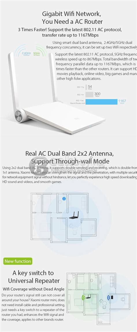 xiaomi mi wifi mini router high security mbps dual bands