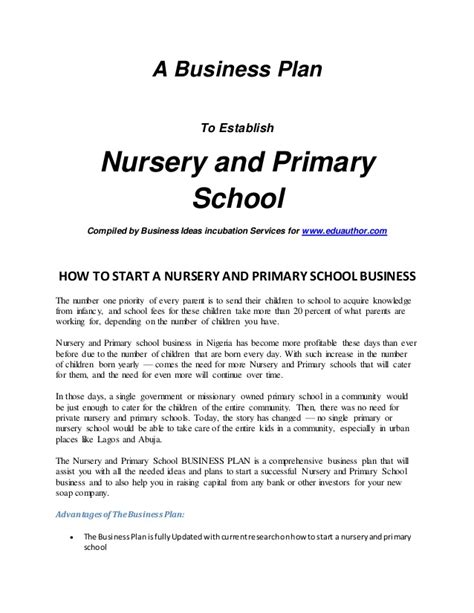 template for preschool business plan intro nursery and primary school business plan
