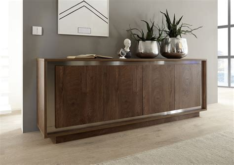 Wine Credenza Luna Four Door Sideboard Cognac Finish Sideboards