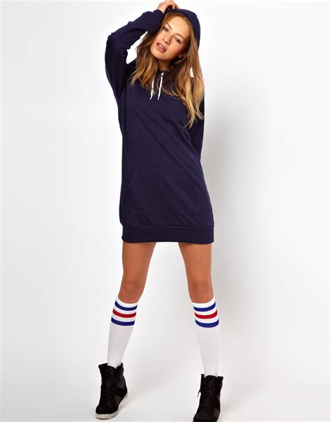 Dress For Withamerican Apparel by American Apparel Hoodie Dress In Blue Lyst