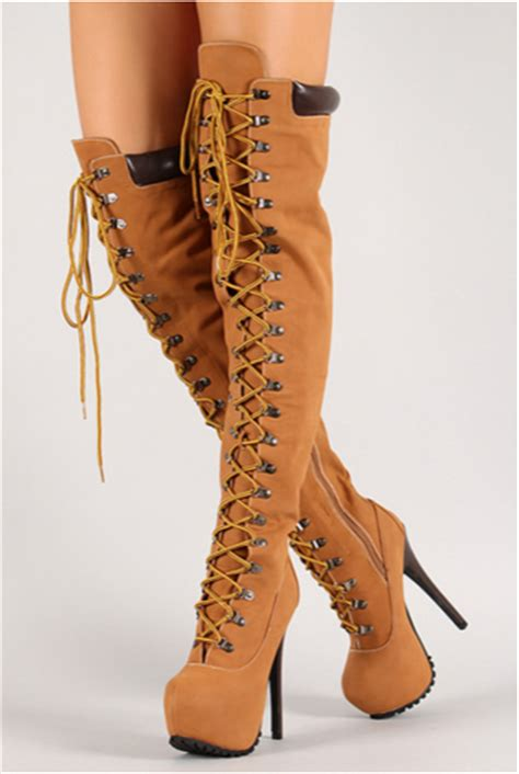 work boot style high heels thigh high timberland style the knee lace up boots