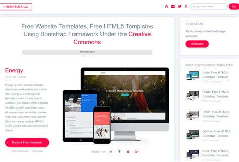 5 Free Responsive Bootstrap Themes Templates Websites Script Eden Bootstrap Responsive Website Templates Free