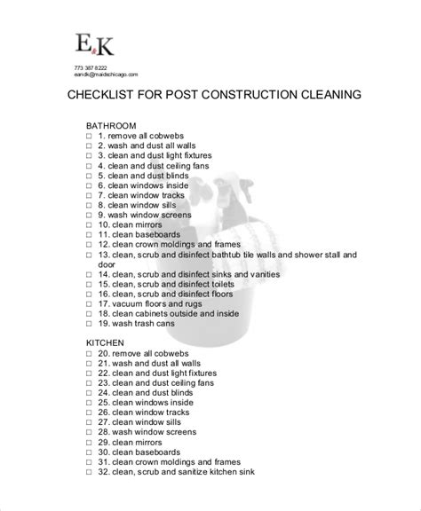 Cleaning Checklist 23 Free Word Pdf Psd Documents Download Free Premium Templates Post Construction Cleaning Template