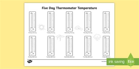 patterns in nature twinkl five day thermometer temperature celsius worksheet activity