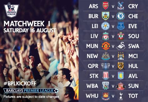 epl weekend fixtures barclays premier league 2014 15 fixtures released hangout