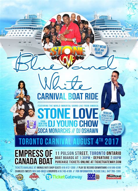 boat ride toronto blue and white carnival boat ride 2017 toronto tickets
