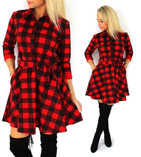 Leisure Dress autumn plaid dresses leisure vintage dress lalbug