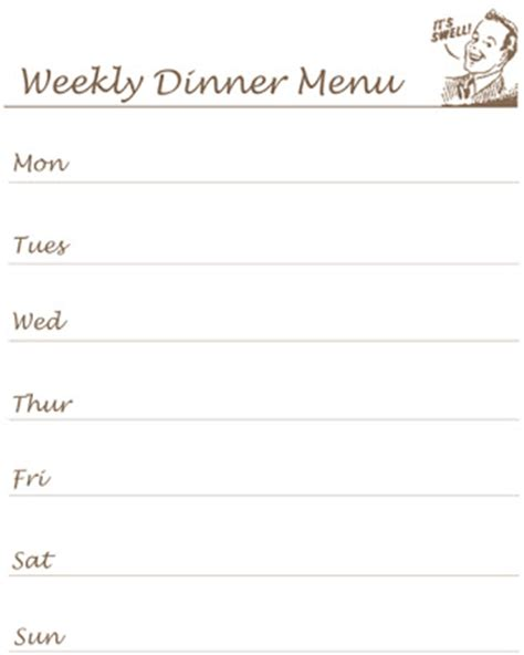 reclaiming the home printable what s for dinner list