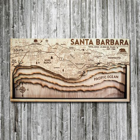 Santa Barbara Ca 3d Wood Map On Tahoe Time