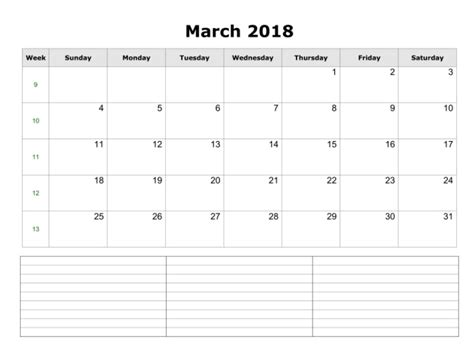printable monthly calendar with space for notes printable monthly calendar 2018 march month with notes