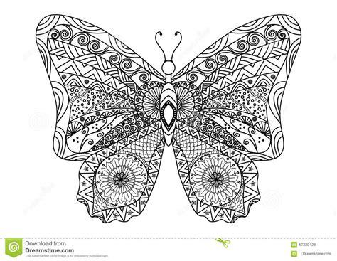 Stile Disegnato A Mano Dello Zentangle Della Farfalla Per