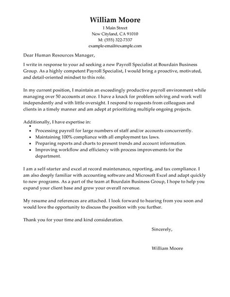 Cover Letter For Payroll Specialist leading professional payroll specialist cover letter