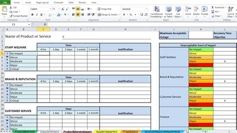 it business impact analysis template business impact analysis template excel excel tmp