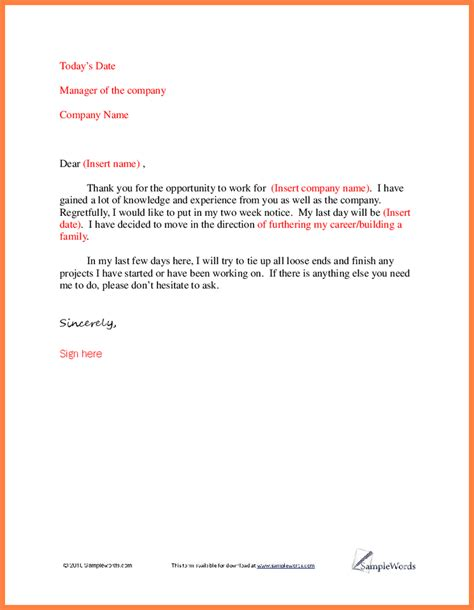 thank you letter to my for the opportunity resignation letter template and exle resignation